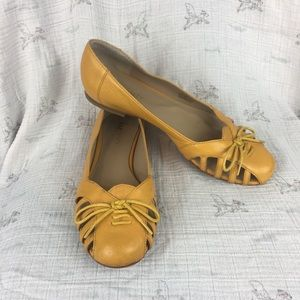 Sole Society Meredith mustard yellow leather flats
